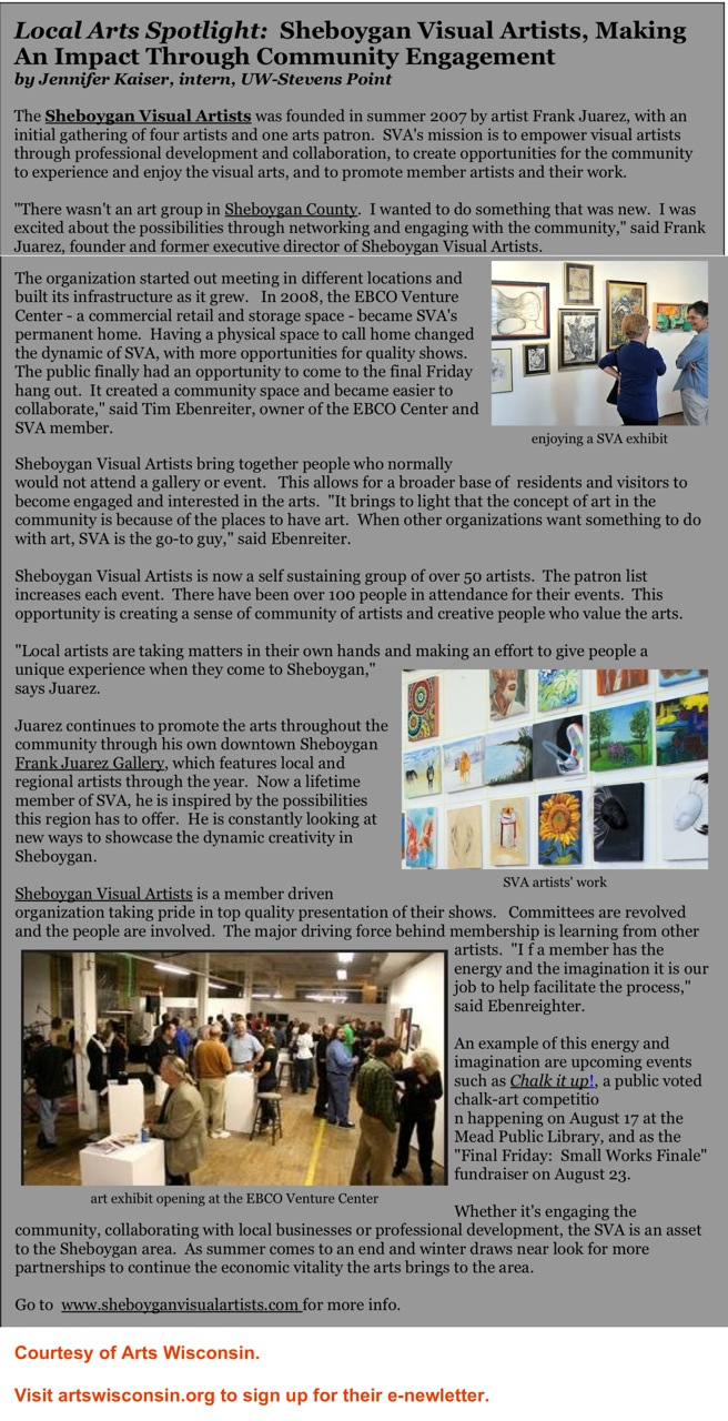 ALocal Arts Spotlight- SVA, arts wisconsin