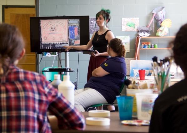 MAT2 grad student, Kiley introducing interaction between image and text