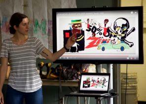 MAT2 grad student, Anastasia introducing collaboration between artists.