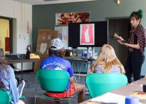 MAT2 grad student, Kiley introducing curating to students