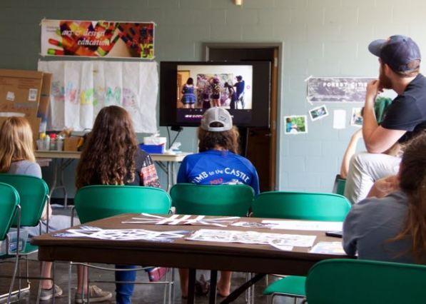 MAT2 grad student, Kris showing students a time lapse